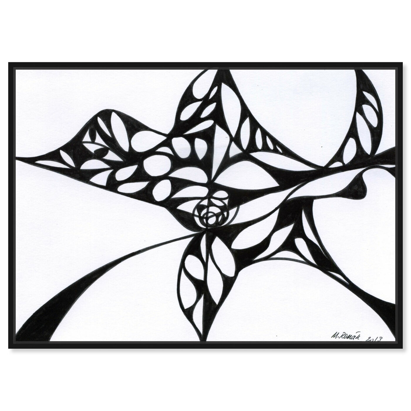 Front view of Black Iris featuring abstract and geometric art.