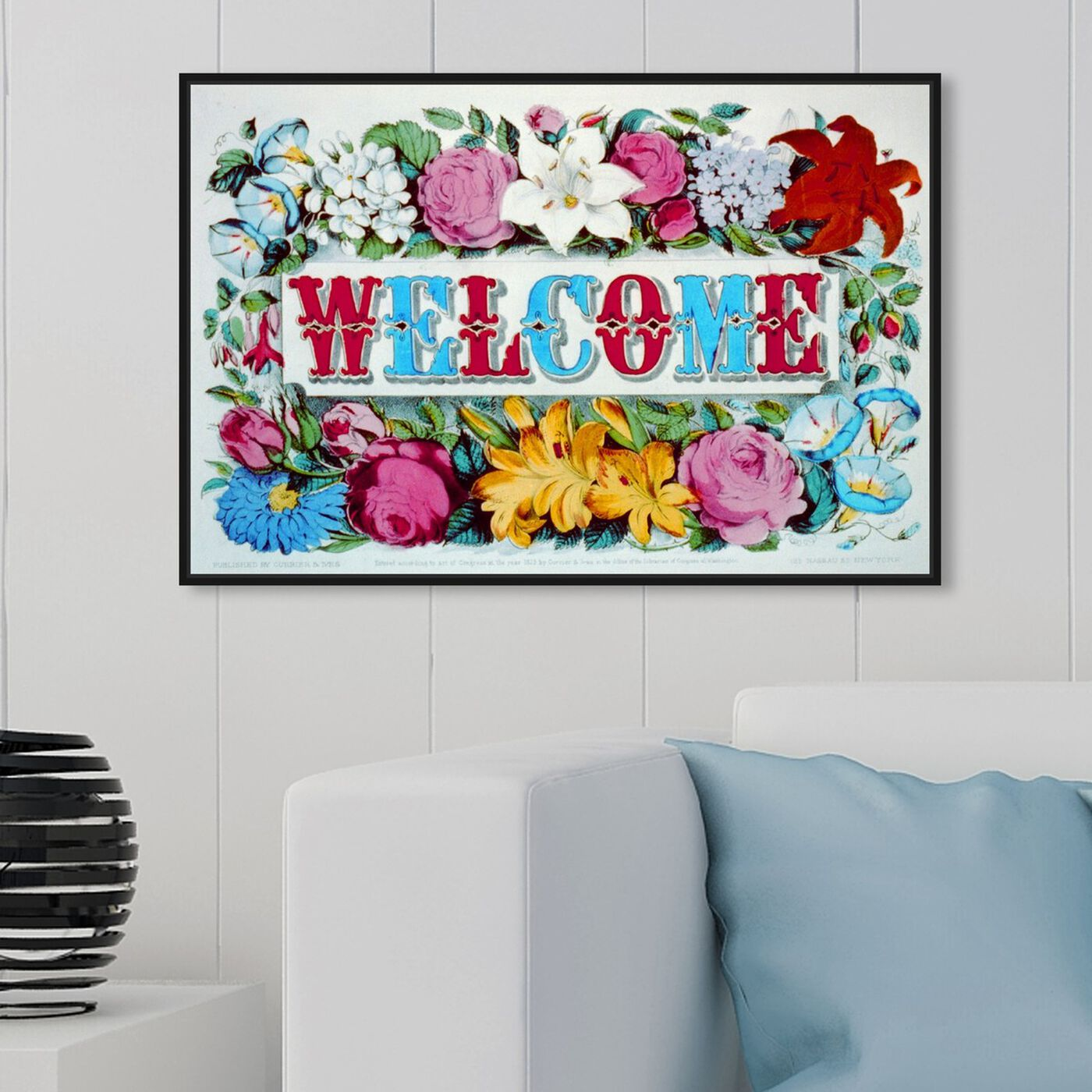 Hanging view of Welcome featuring typography and quotes and family quotes and sayings art.