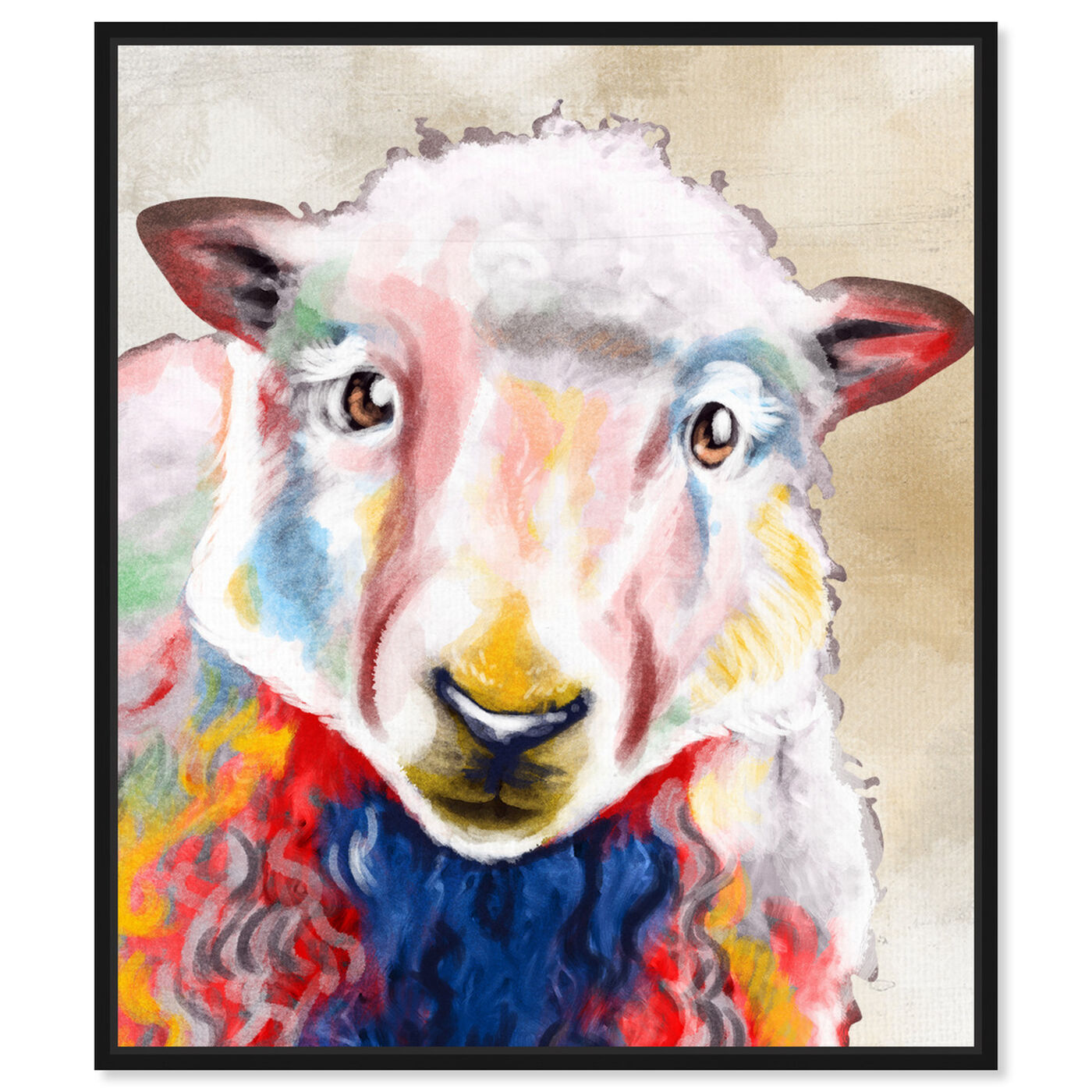 Front view of Color Splash Sheep featuring animals and farm animals art.
