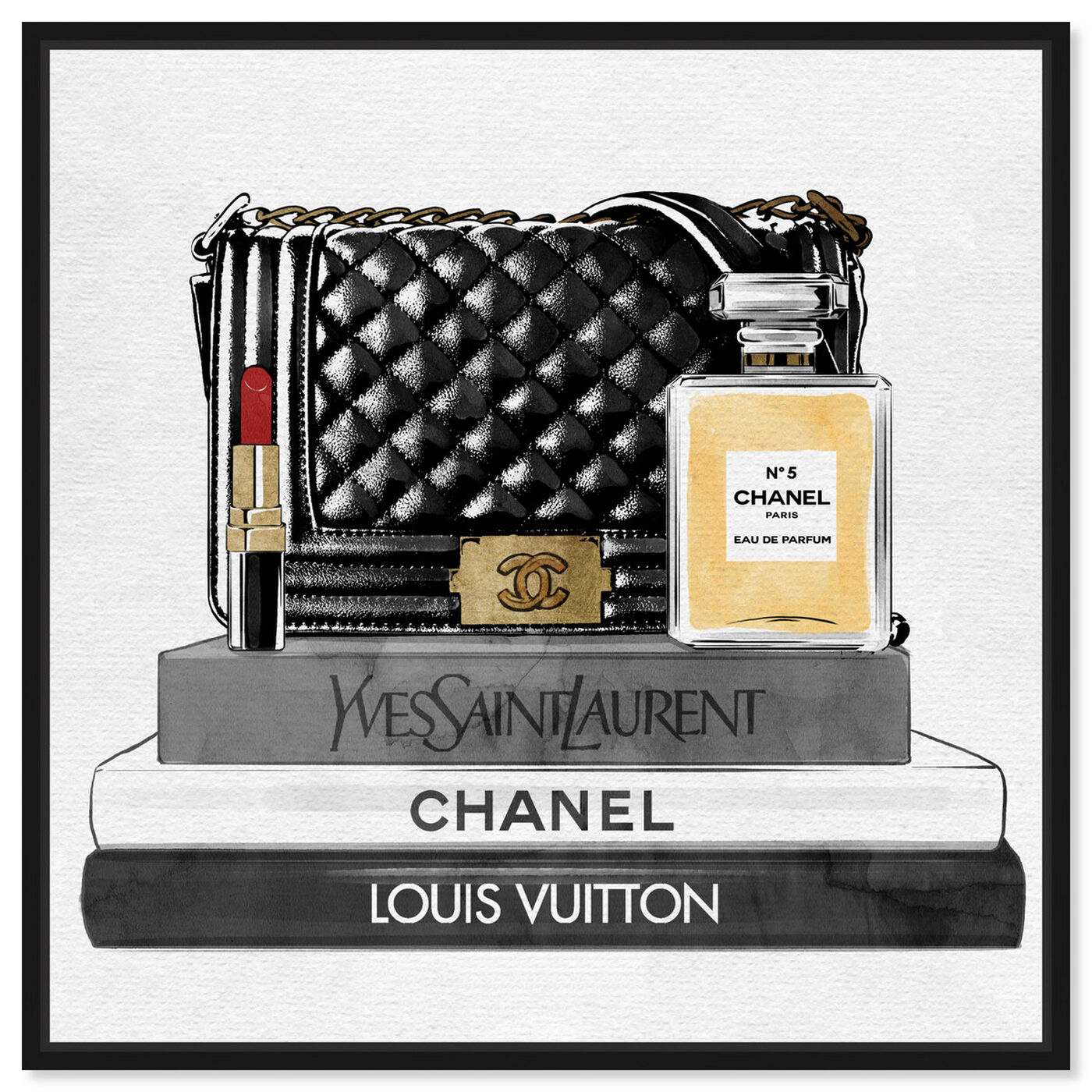 Front view of Black Paris Handbag and Books featuring fashion and glam and handbags art.