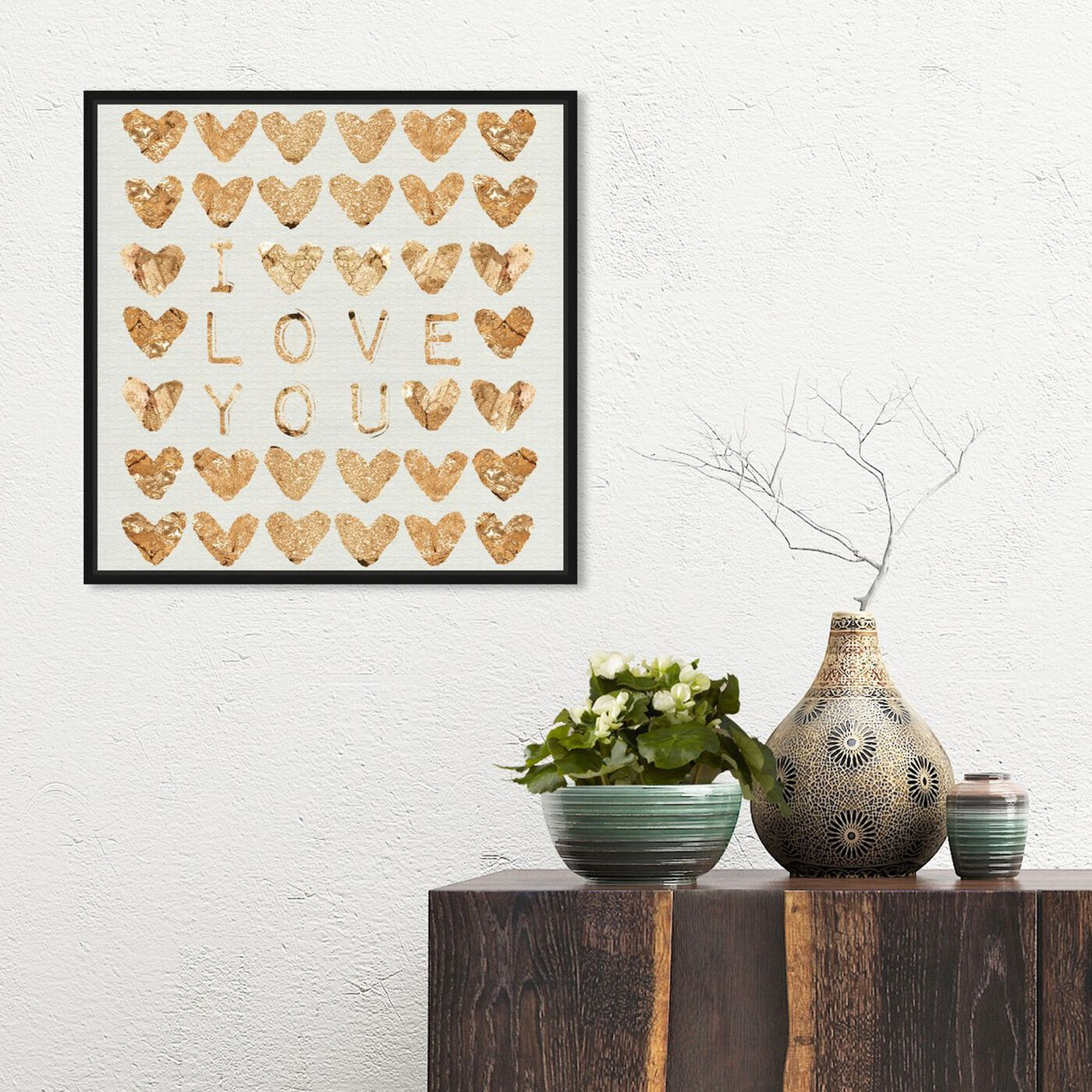 Hanging view of I Love You Gold featuring fashion and glam and hearts art.