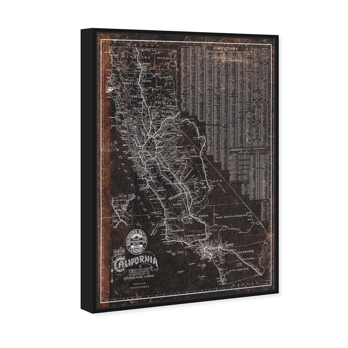 Angled view of Southern Pacific California Roadrail map 1901 featuring maps and flags and us states maps art.
