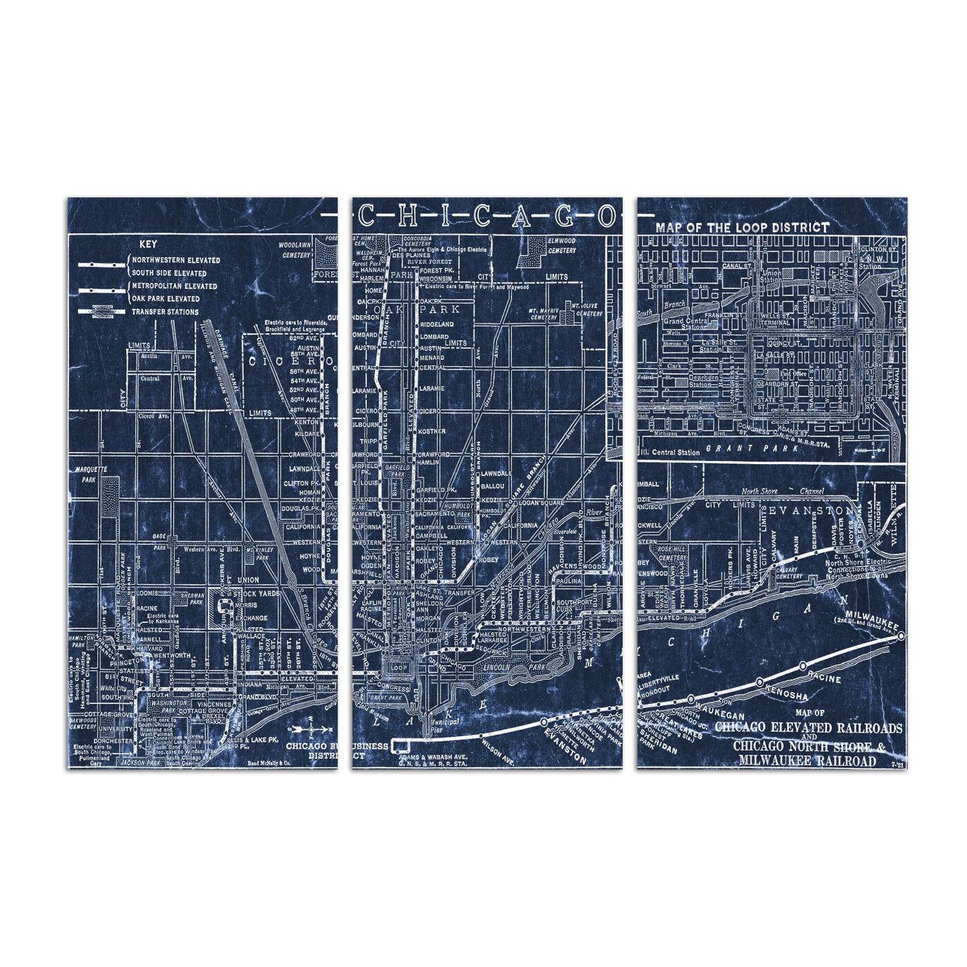 Chicago Railroad Blueprint Map Triptych