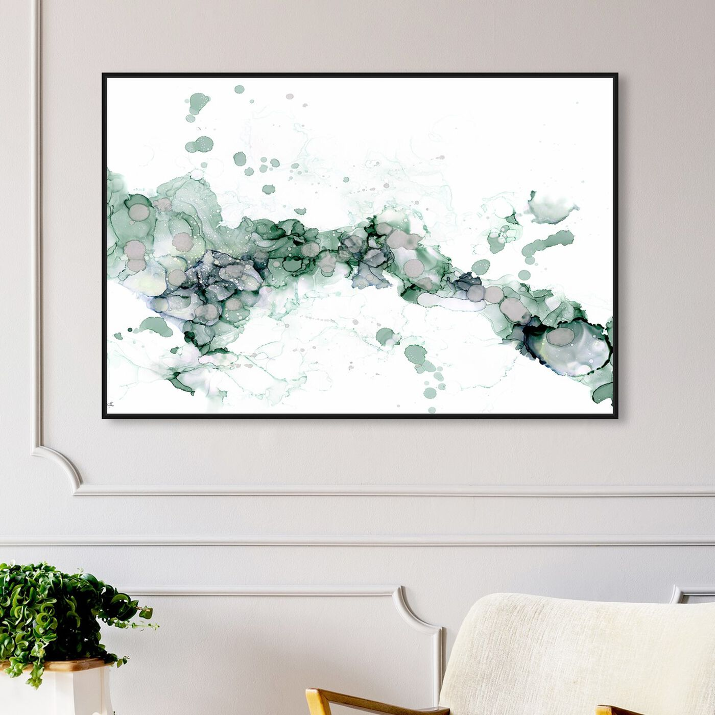 Hanging view of Jamie Blicher - Diana Teal featuring abstract and watercolor art.