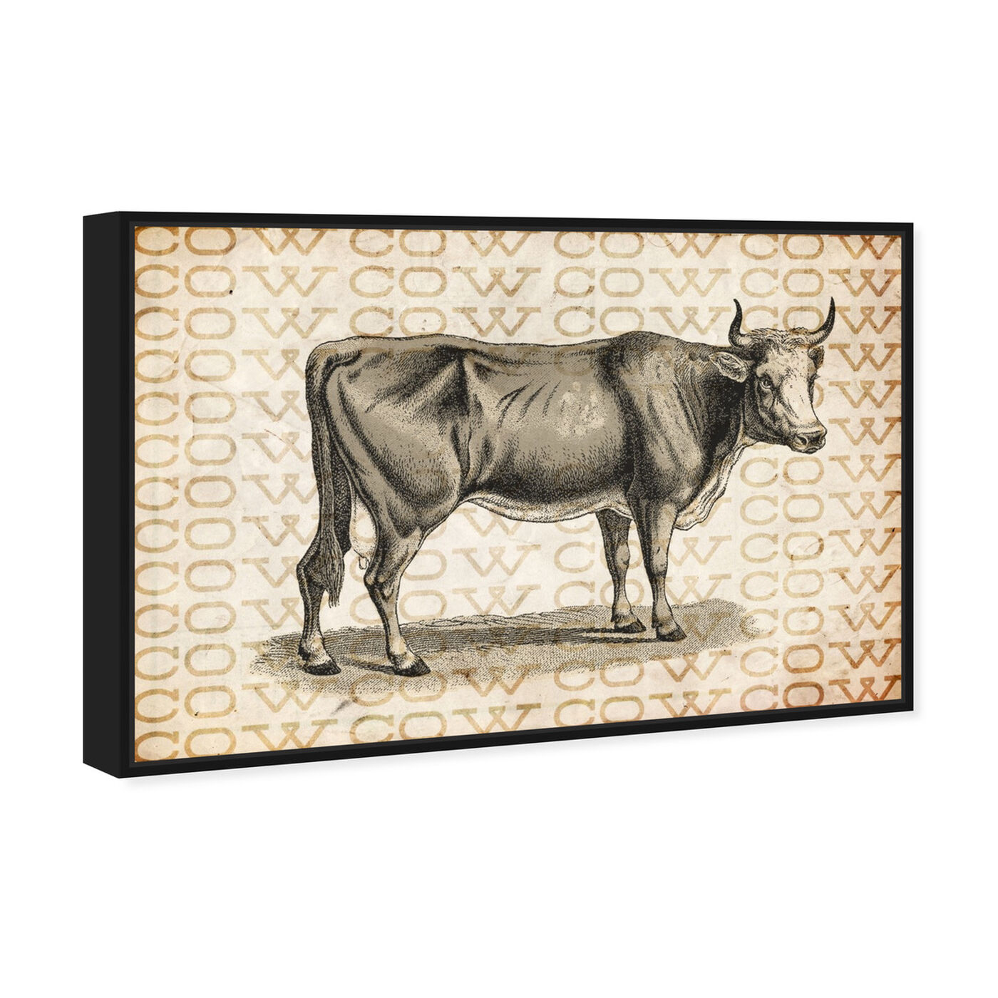 Angled view of Cow featuring animals and farm animals art.