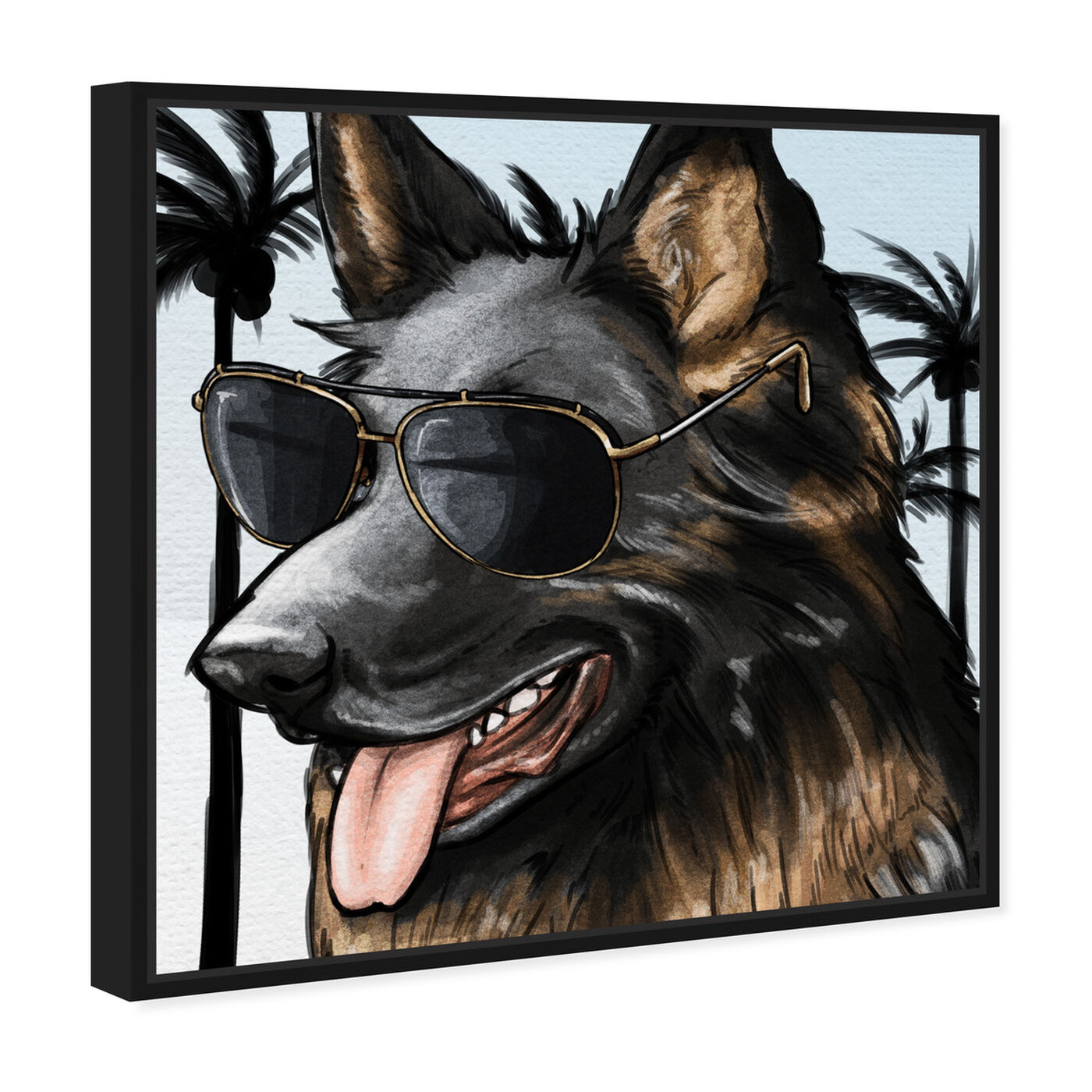 Angled view of German Shephard Palm Glam featuring animals and dogs and puppies art.