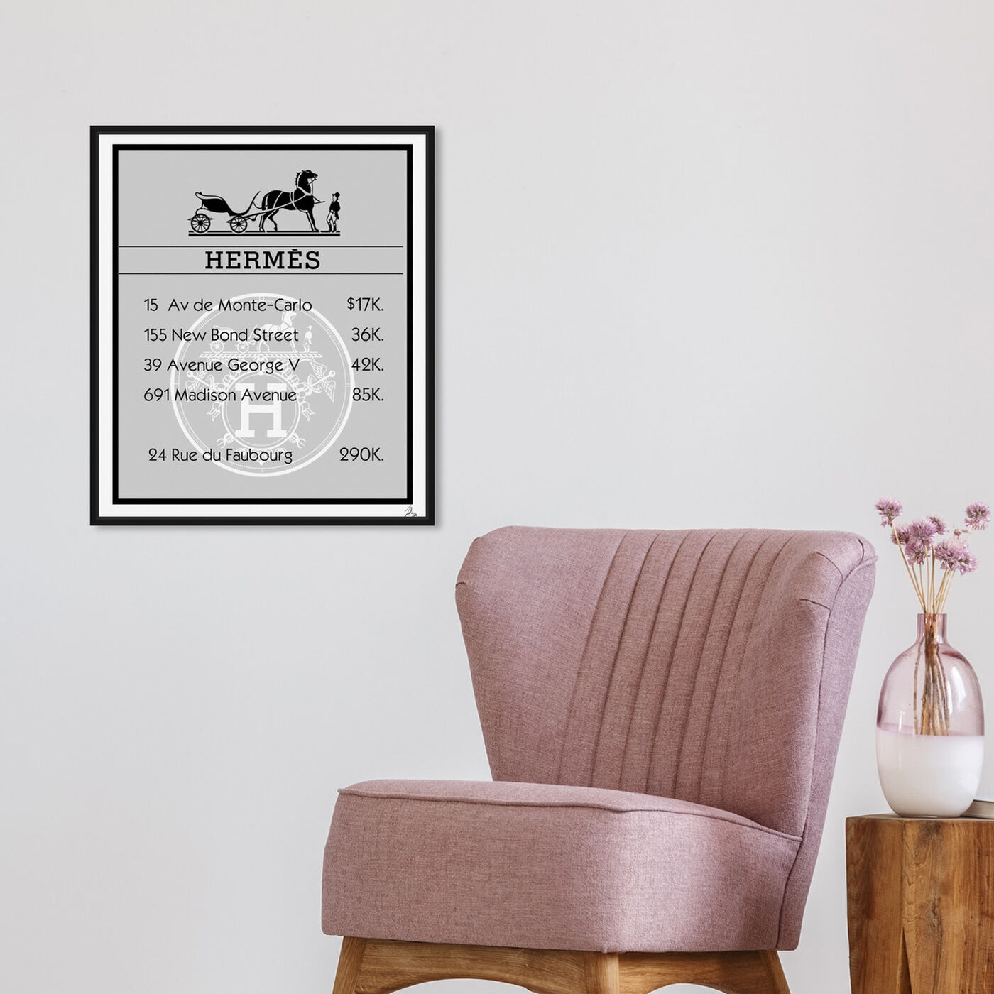 Hanging view of Property Card Rue featuring fashion and glam and road signs art.