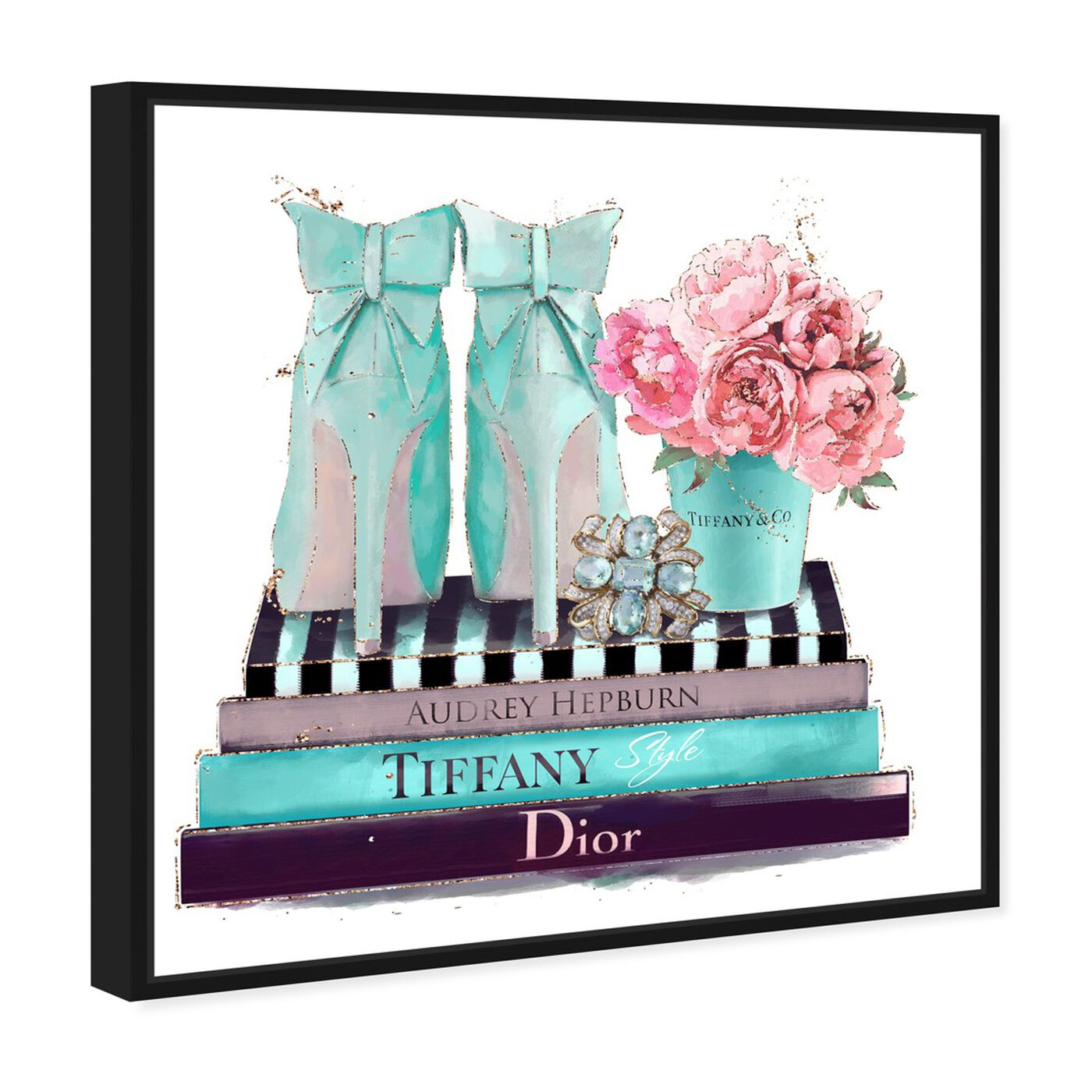 Angled view of Modestly Aquamarine Display featuring fashion and glam and shoes art.