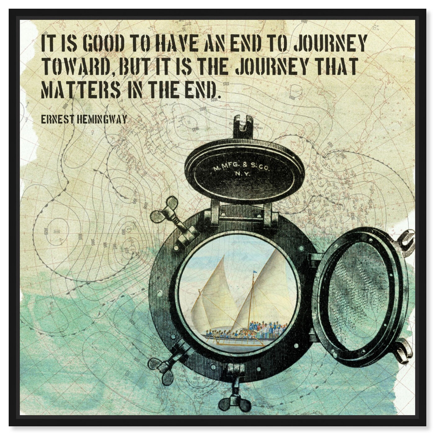 Front view of The Journey featuring typography and quotes and inspirational quotes and sayings art.