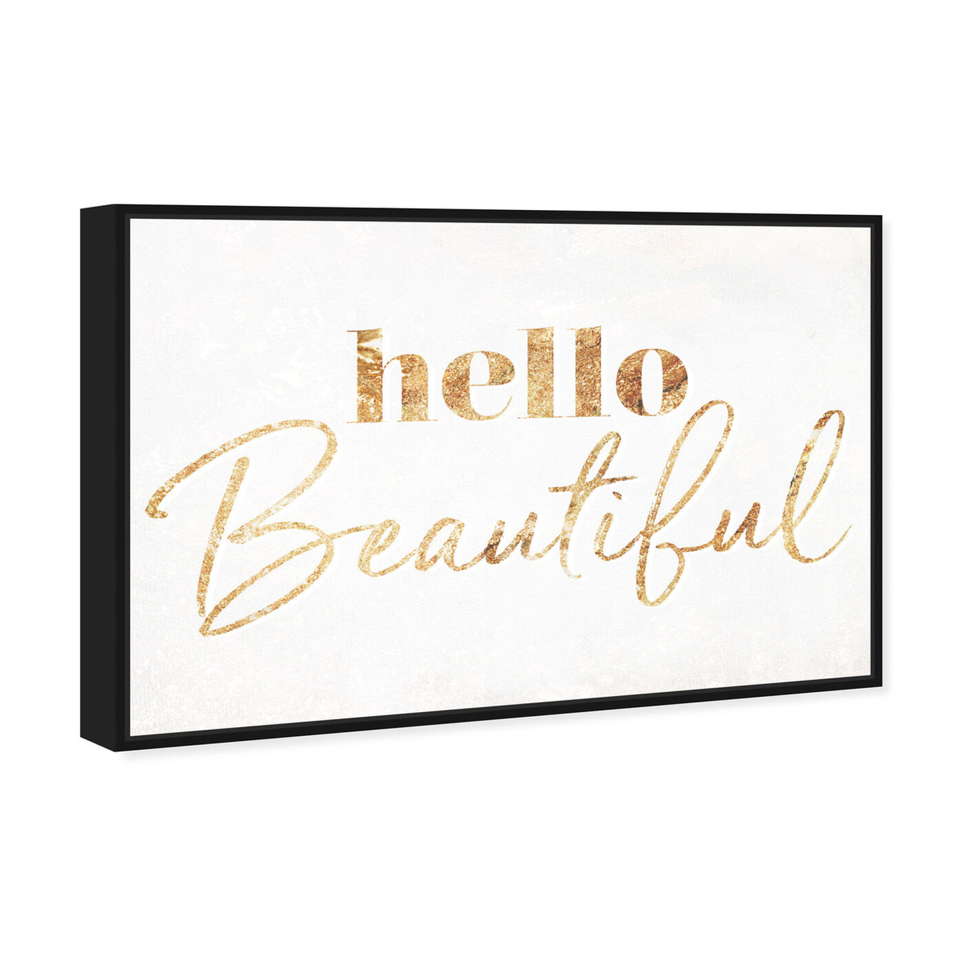 Angled view of Hello Beautiful Gold Vertical featuring typography and quotes and beauty quotes and sayings art.