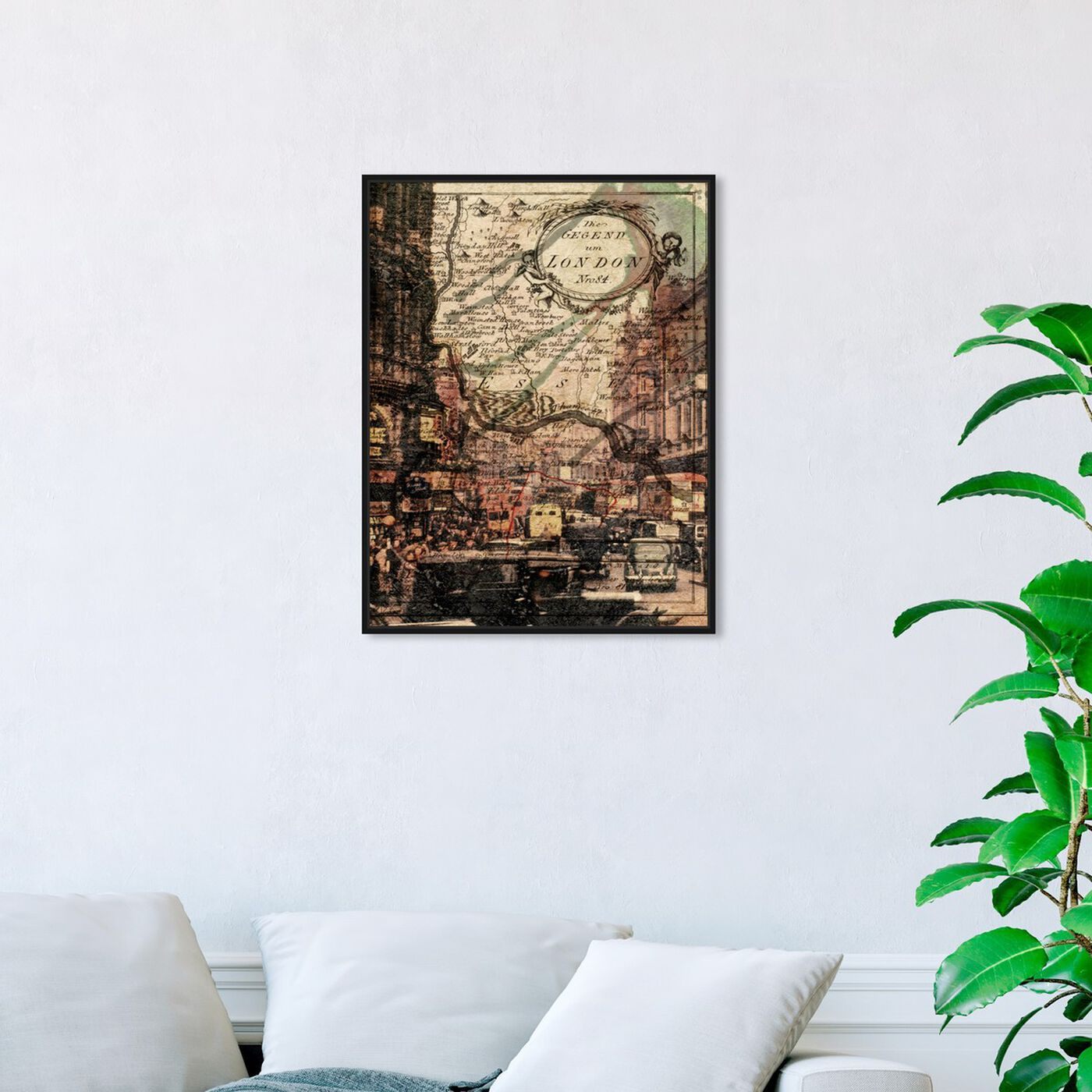 Hanging view of London Classic featuring maps and flags and european cities maps art.