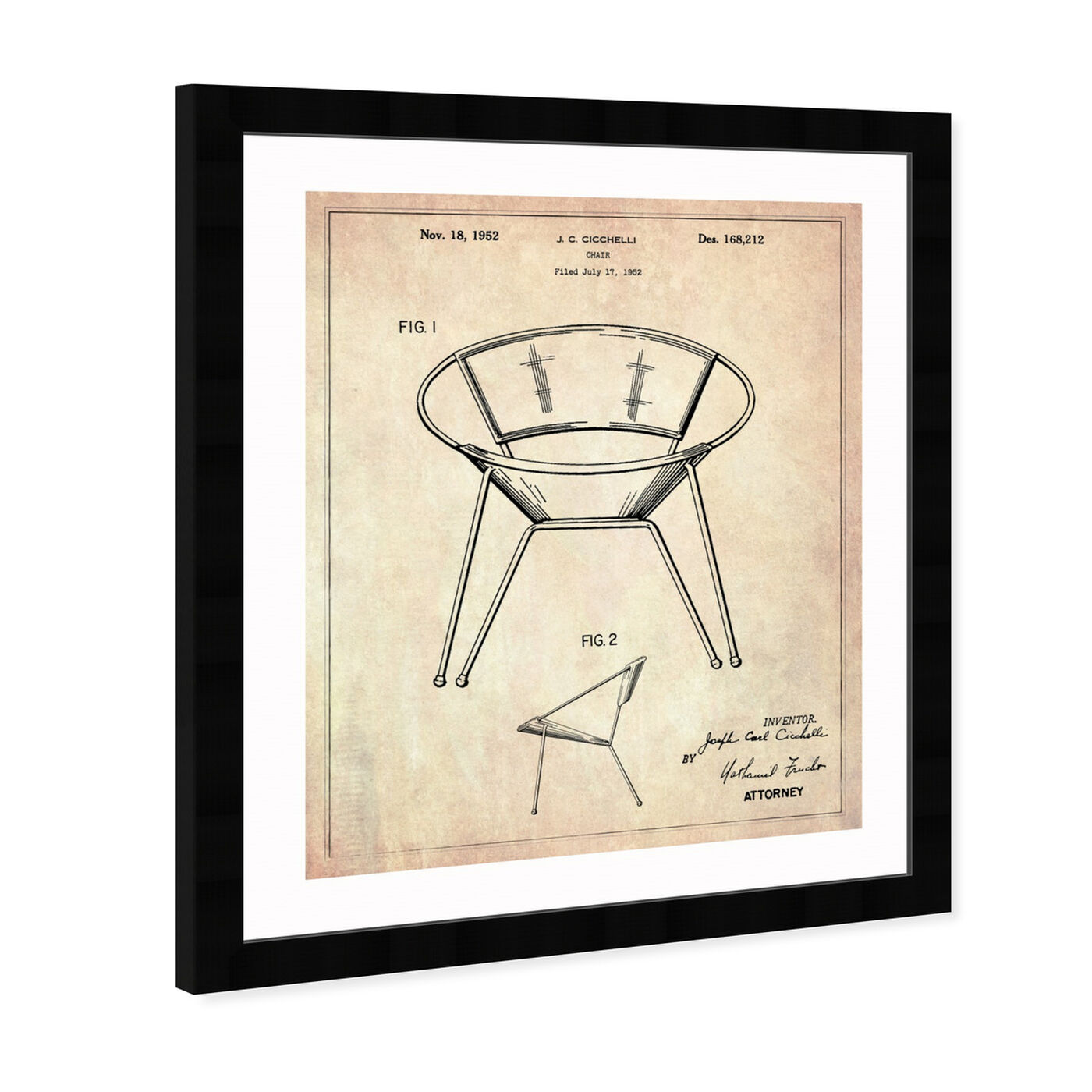Angled view of Chair 1952 featuring success and entrepreneurial and workspace art.