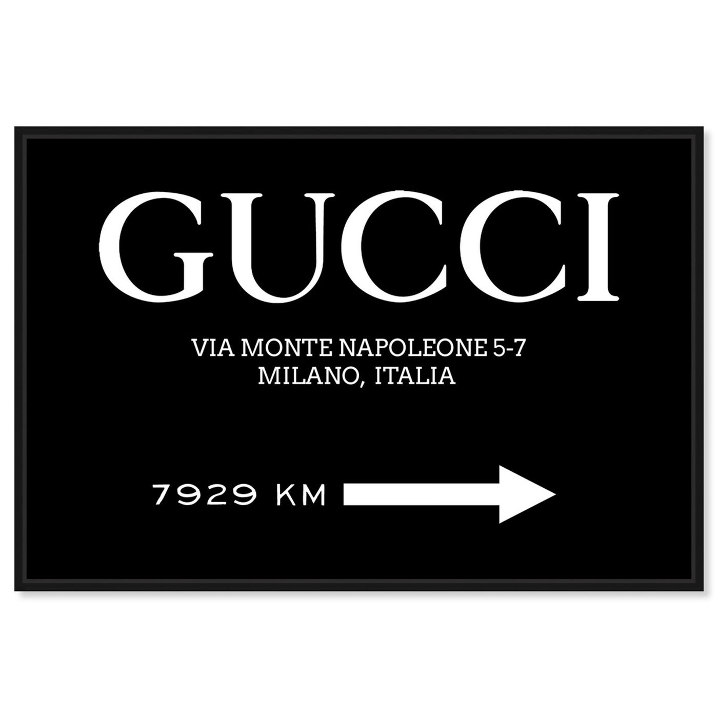 Front view of Italia Road Sign BW featuring fashion and glam and road signs art.