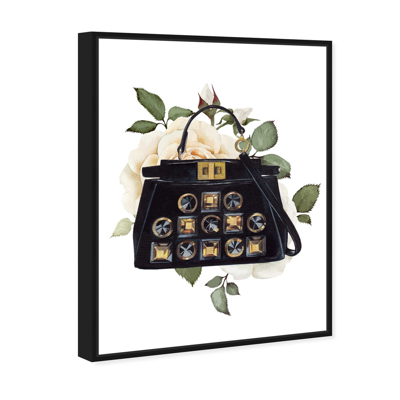 Angled view of Doll Memories - Woman's Vintage Bag featuring fashion and glam and handbags art.