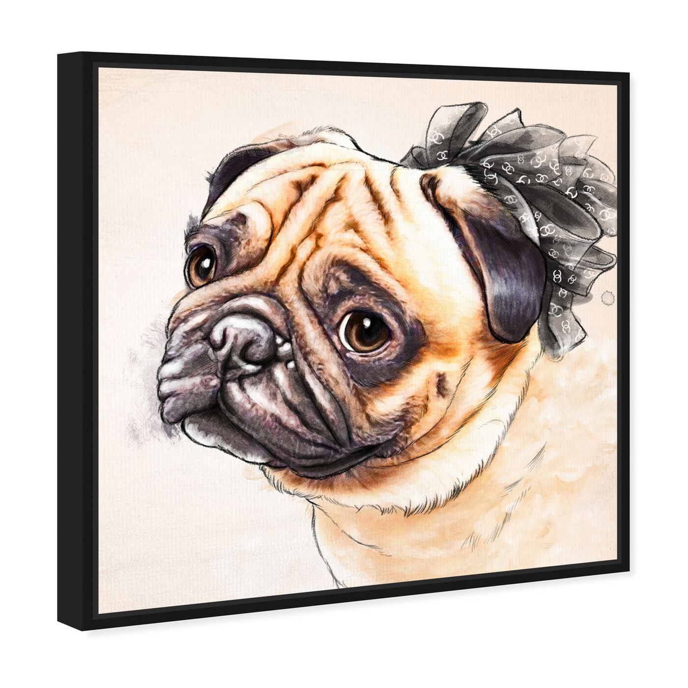 Angled view of Watercolor Pug featuring animals and dogs and puppies art.