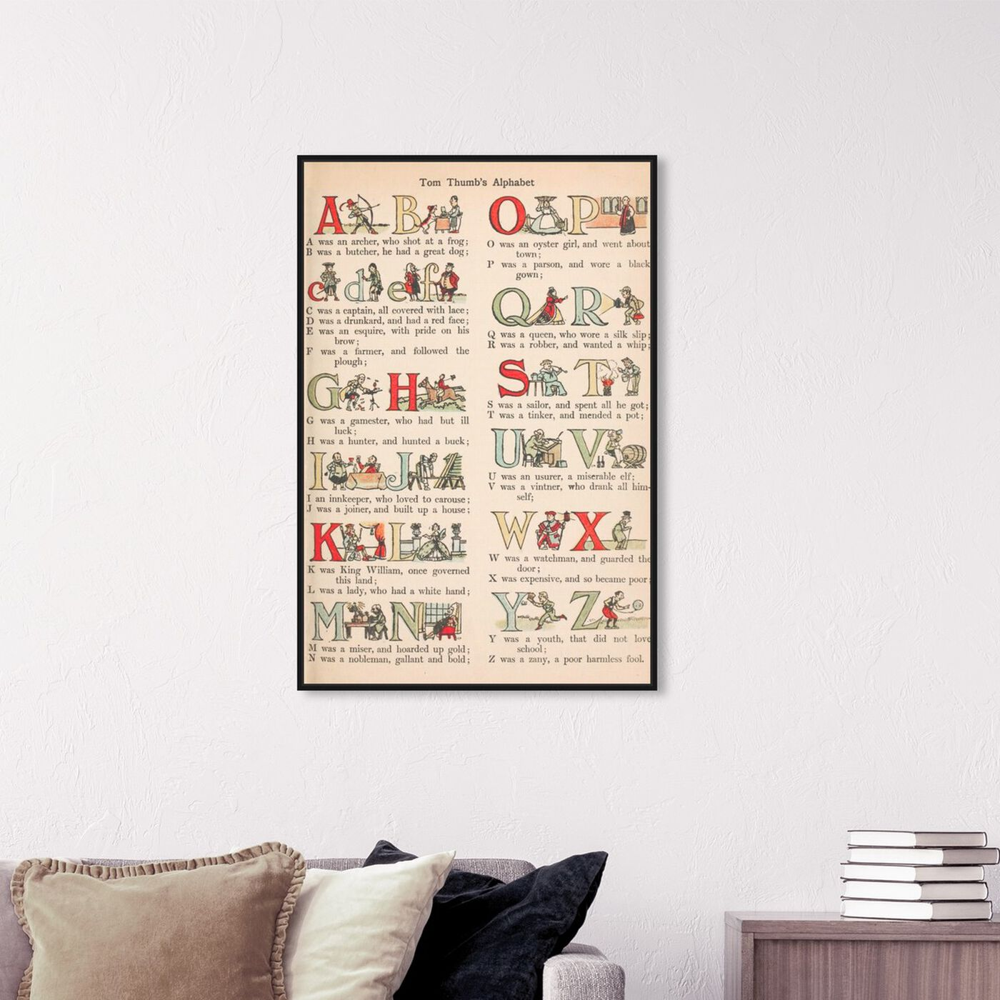 Hanging view of Tom Thumb's Alphabet featuring typography and quotes and letters and calligraphy art.