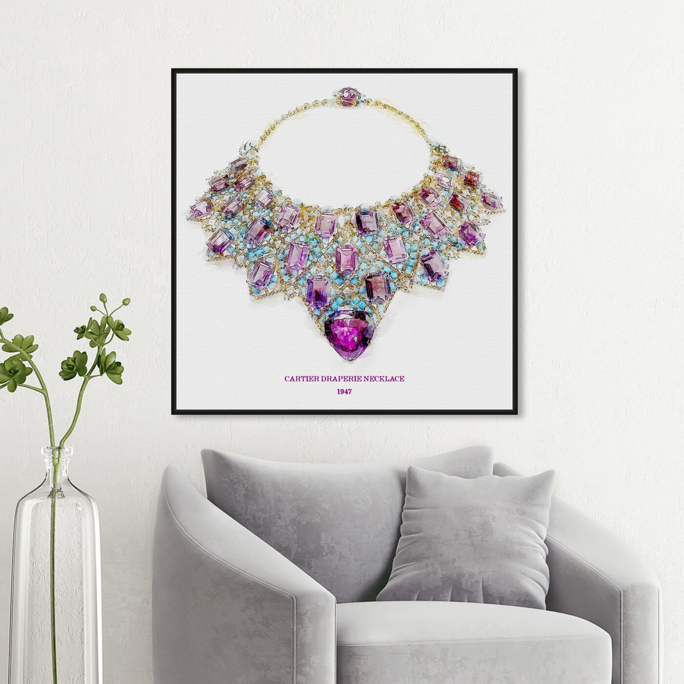 Hanging view of Draperie Necklace 1947 featuring fashion and glam and jewelry art.