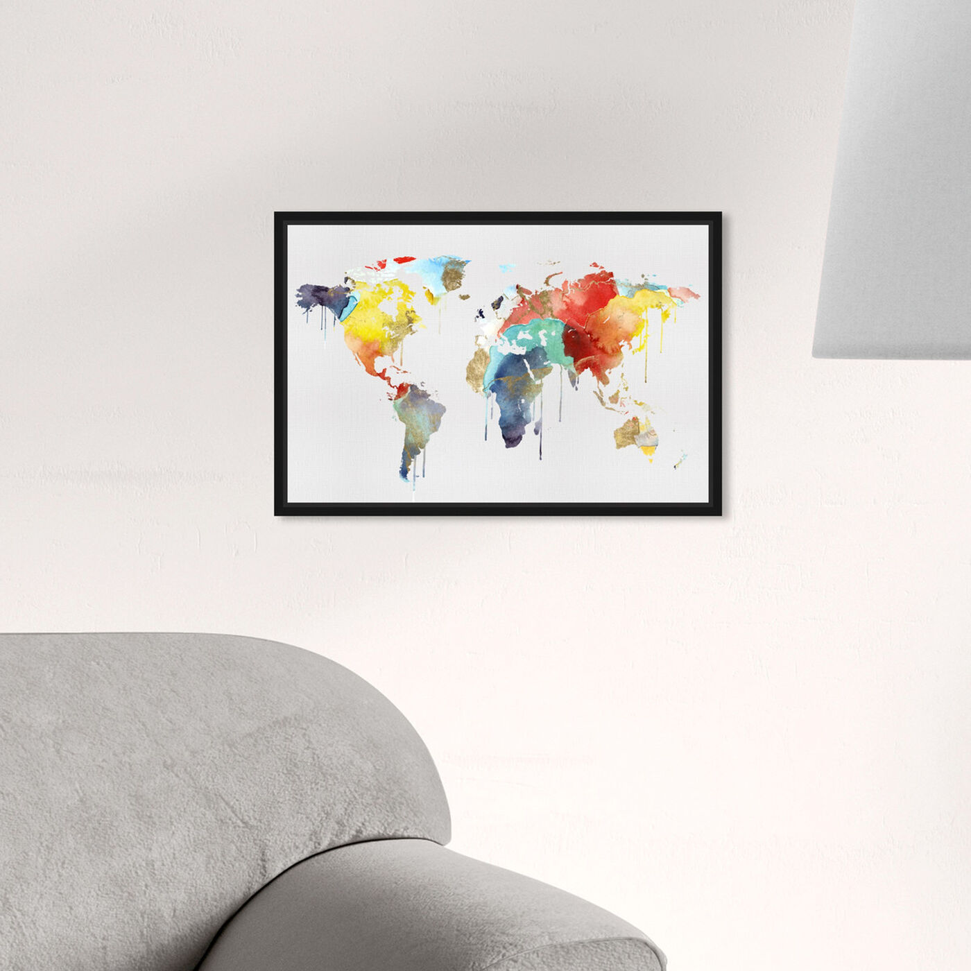 Hanging view of Mapamundi Watercolor featuring maps and flags and world maps art.