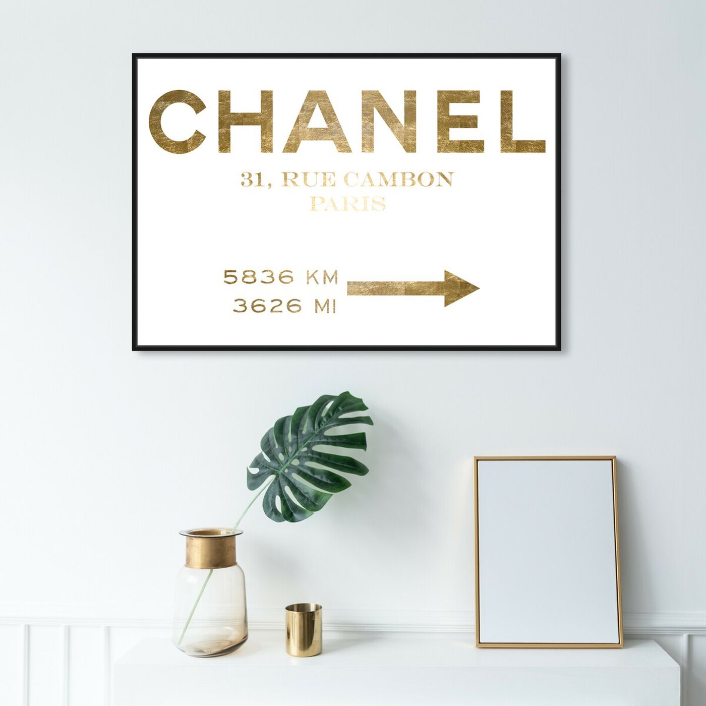 Hanging view of Couture Road Sign Minimalist Gold Foil featuring fashion and glam and road signs art.