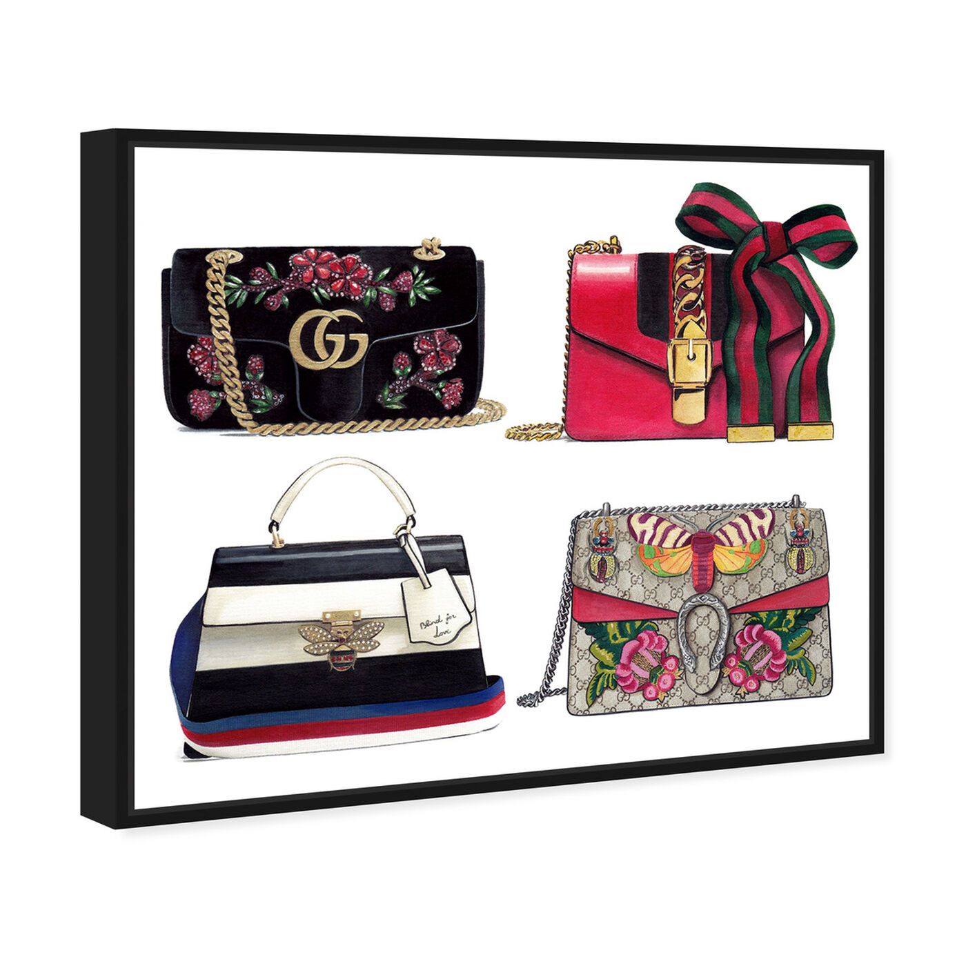 Angled view of Doll Memories - Collage featuring fashion and glam and handbags art.