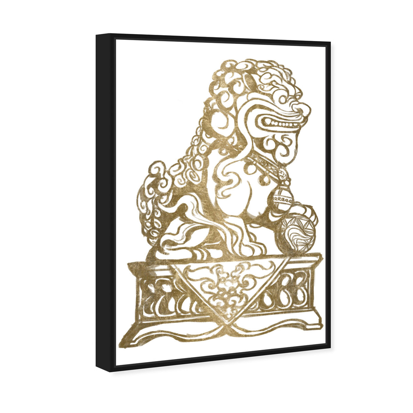 Angled view of Foo Dog Gold II featuring symbols and objects and symbols art.