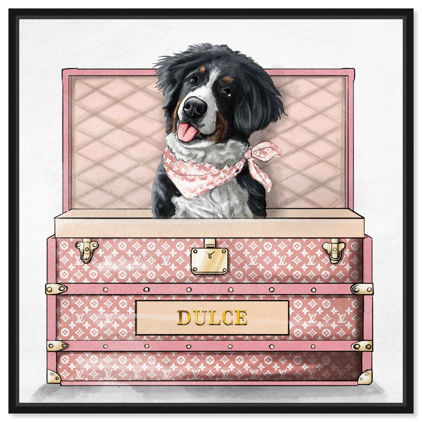 Front view of Pink Luxury Trunk featuring animals and dogs and puppies art.