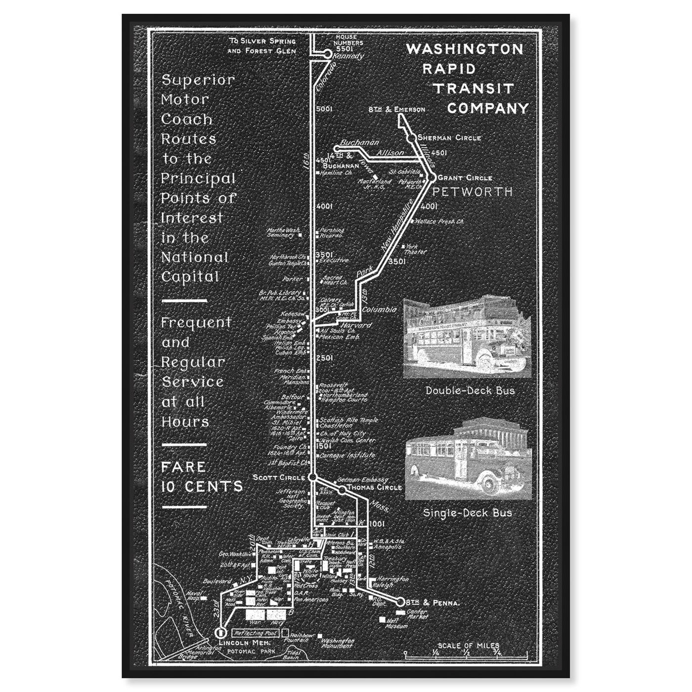 Front view of Washington Rapid Transit Co. Map 1927 featuring maps and flags and transit map art.