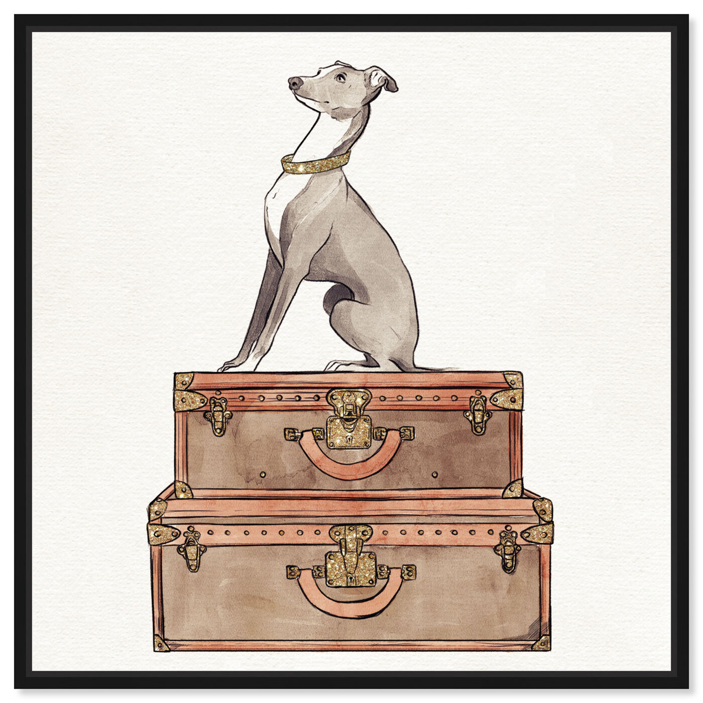 Front view of Luxury Greyhound featuring fashion and glam and travel essentials art.
