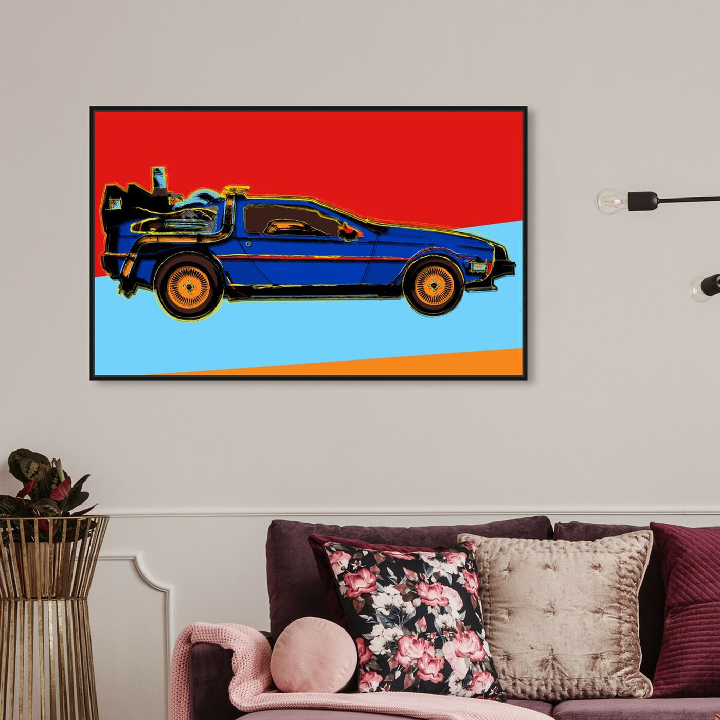 Hanging view of Warhol style Delorean featuring transportation and automobiles art.