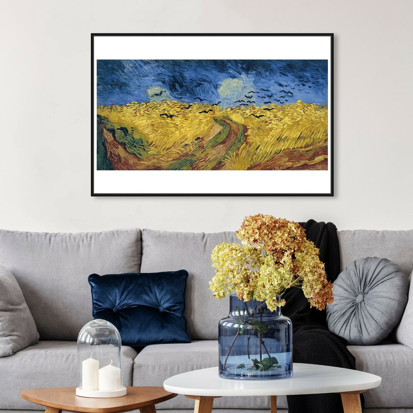 Hanging view of Van Gogh - Wheatfield with Crows featuring classic and figurative and impressionism art.
