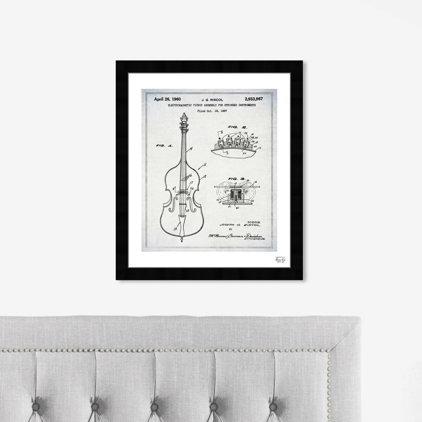 Hanging view of Electromagnetic Violin Pickup 1957 featuring music and dance and music instruments art.