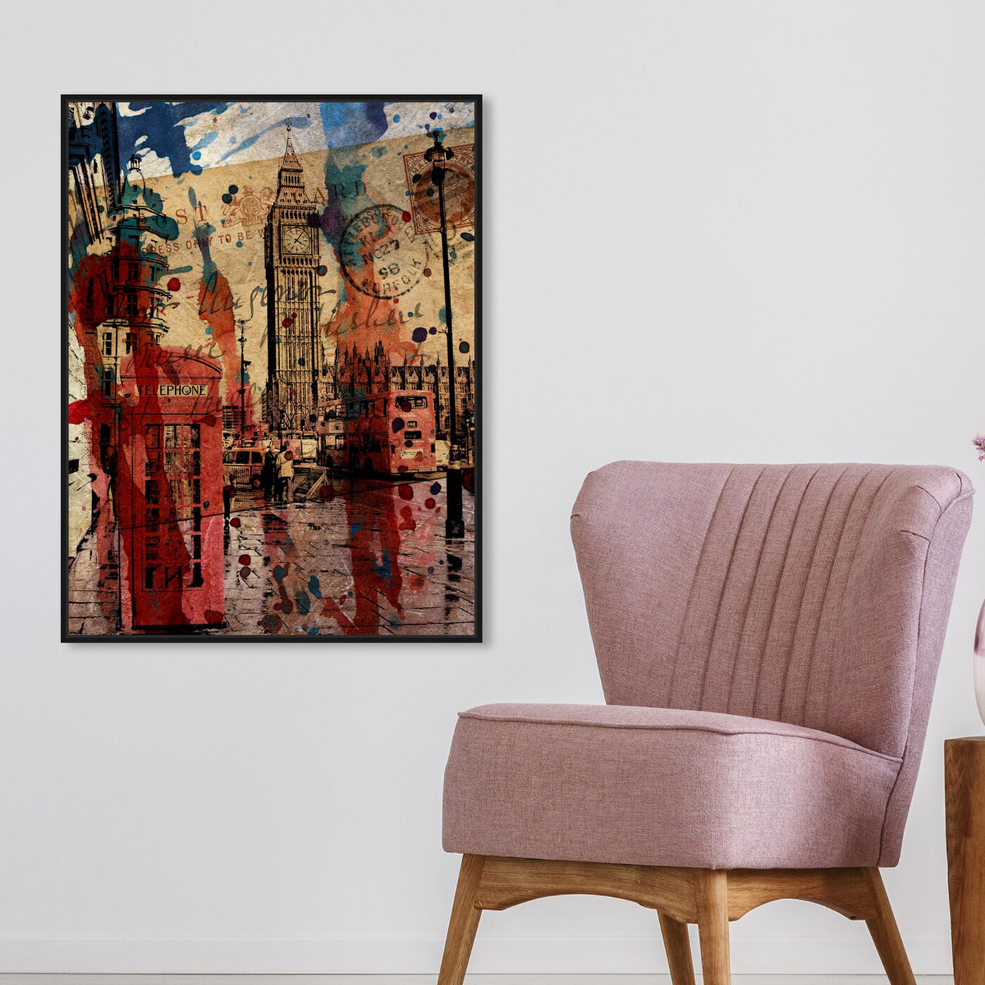 Hanging view of London in Red featuring cities and skylines and european cities art.