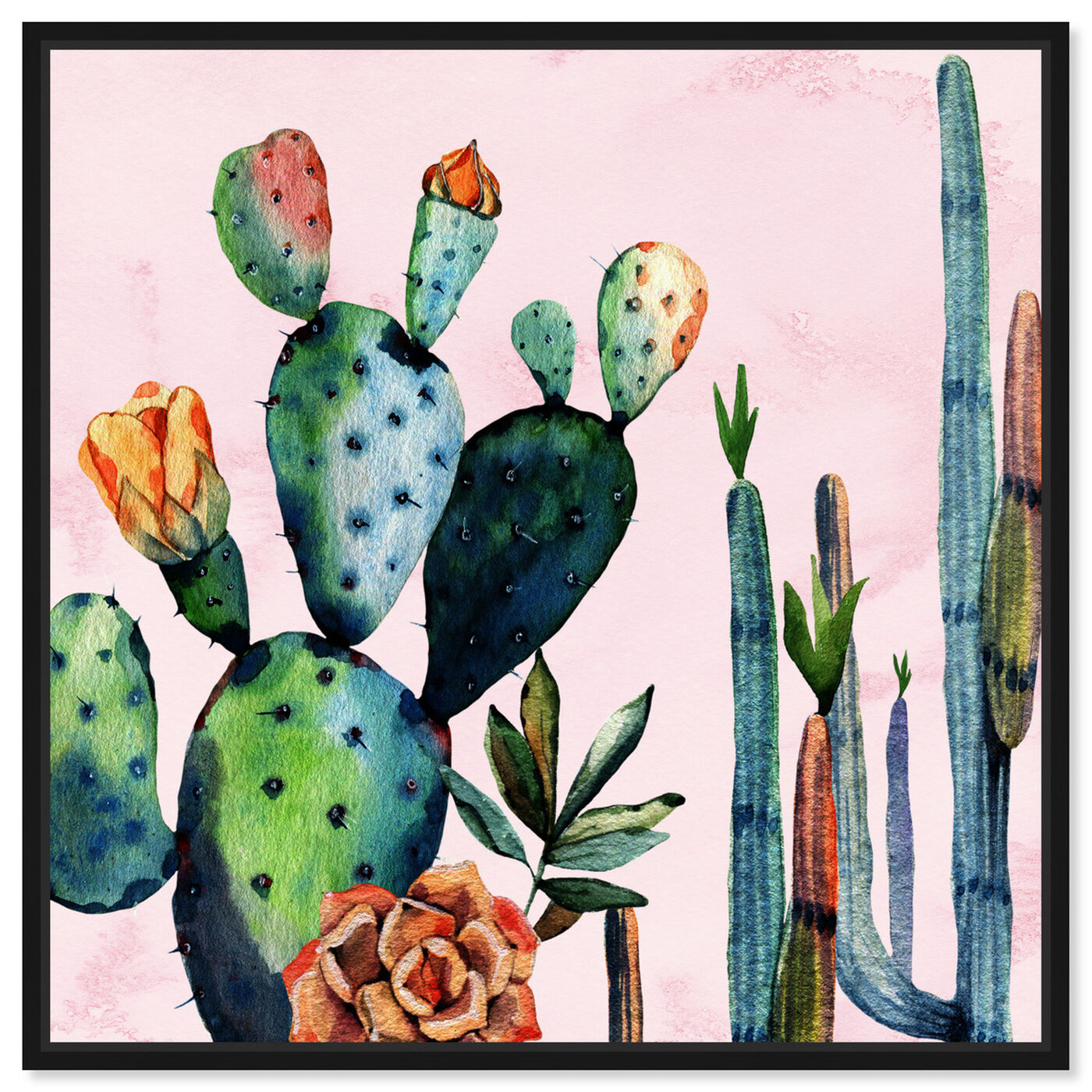 Front view of Watercolor Succulents featuring floral and botanical and botanicals art.