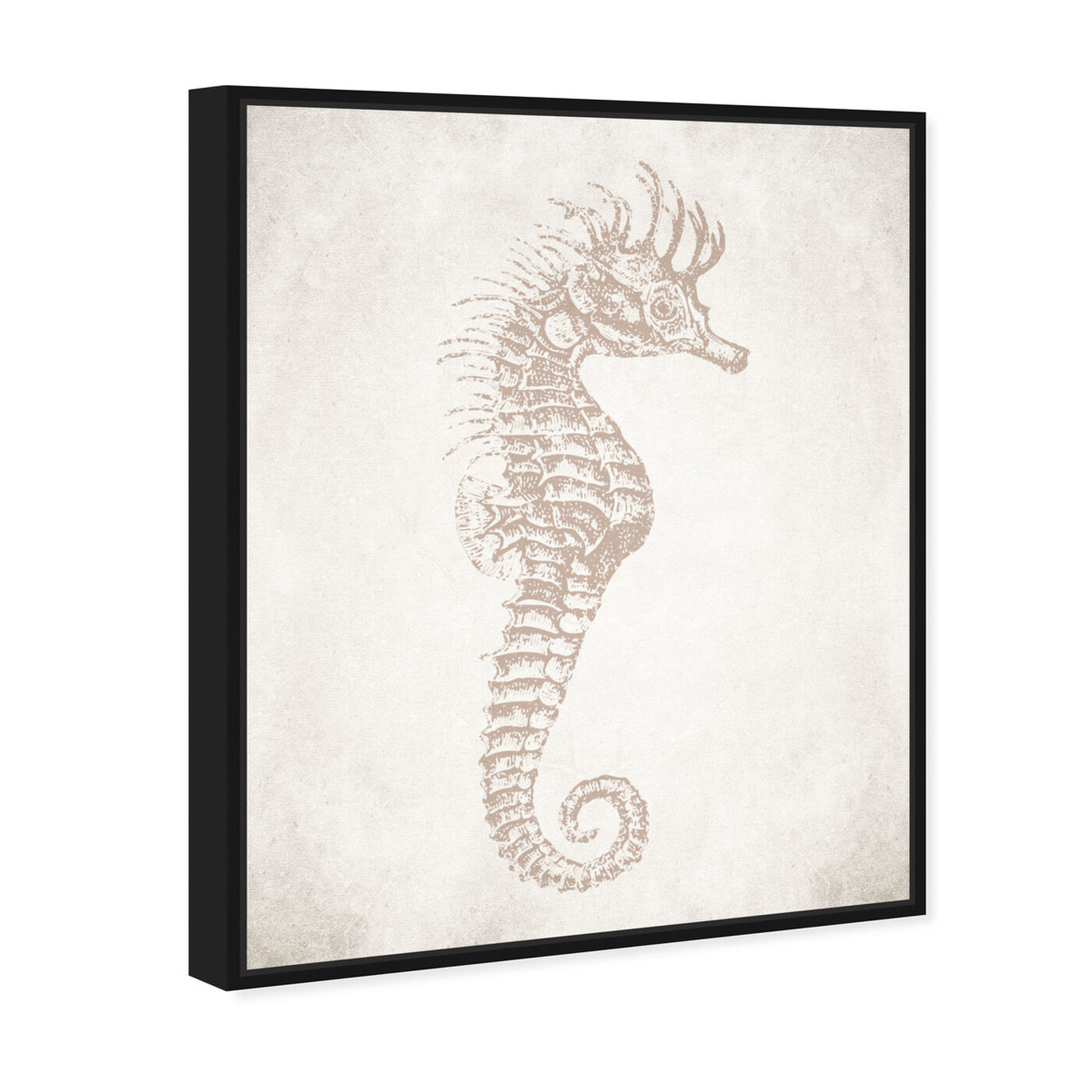 Angled view of Seahorse Neutral featuring nautical and coastal and marine life art.