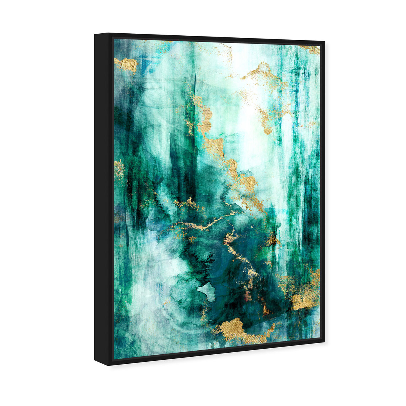 Angled view of Fluorite Aura featuring abstract and paint art.