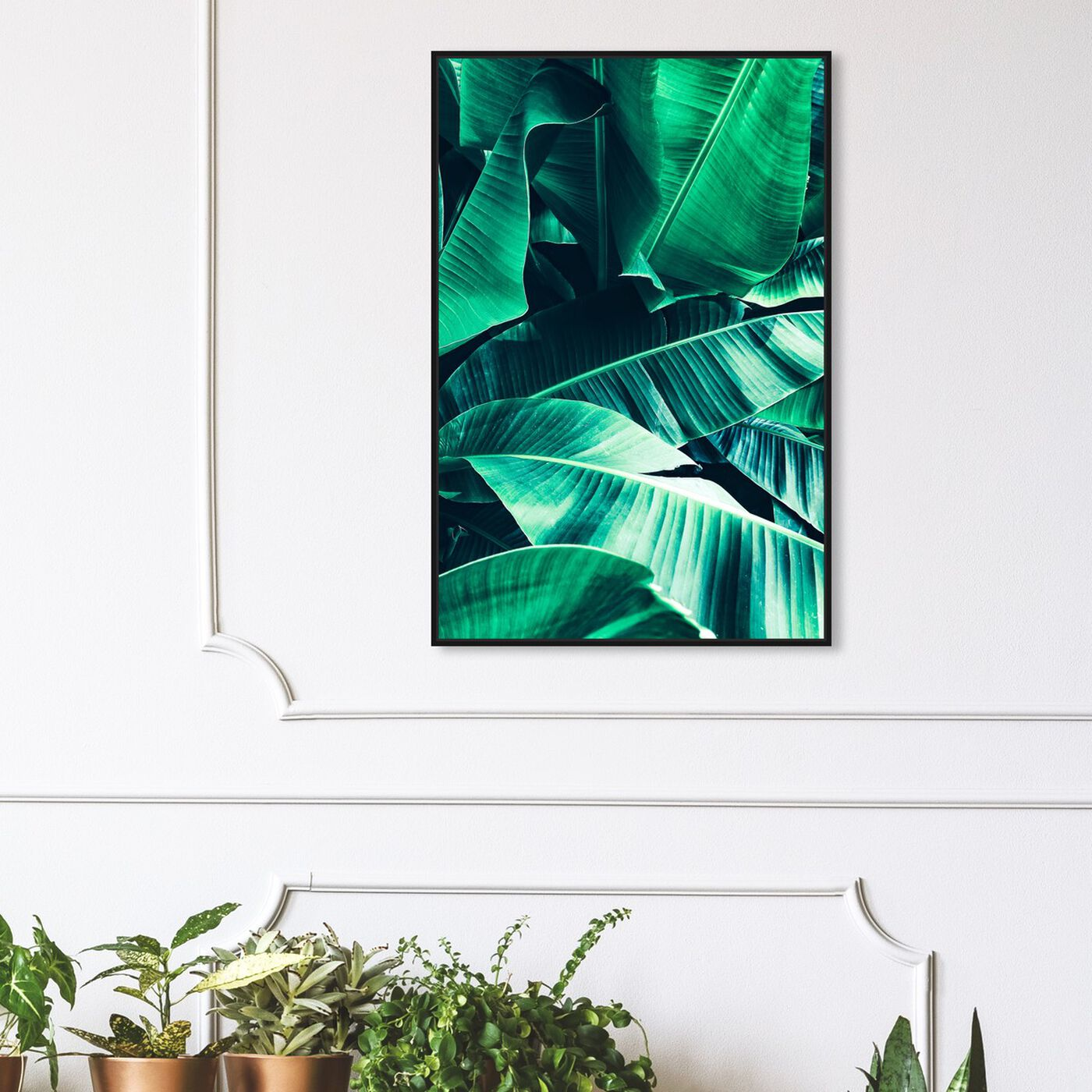 Hanging view of Banana Leaf Icon featuring floral and botanical and botanicals art.