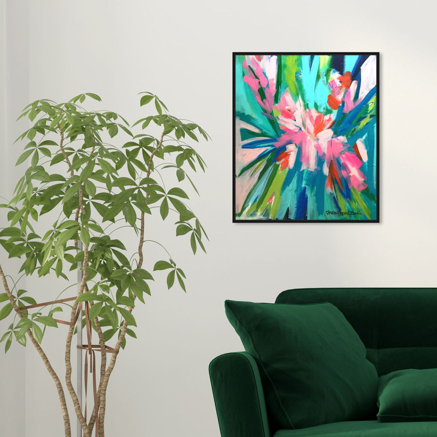 Hanging view of Lourdes Wackes -Garden Party II featuring abstract and flowers art.