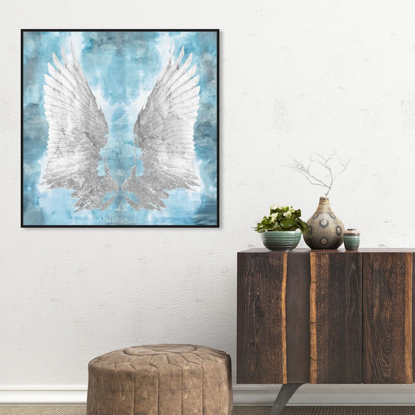 Hanging view of My Turquoise Wings featuring fashion and glam and feathers art.