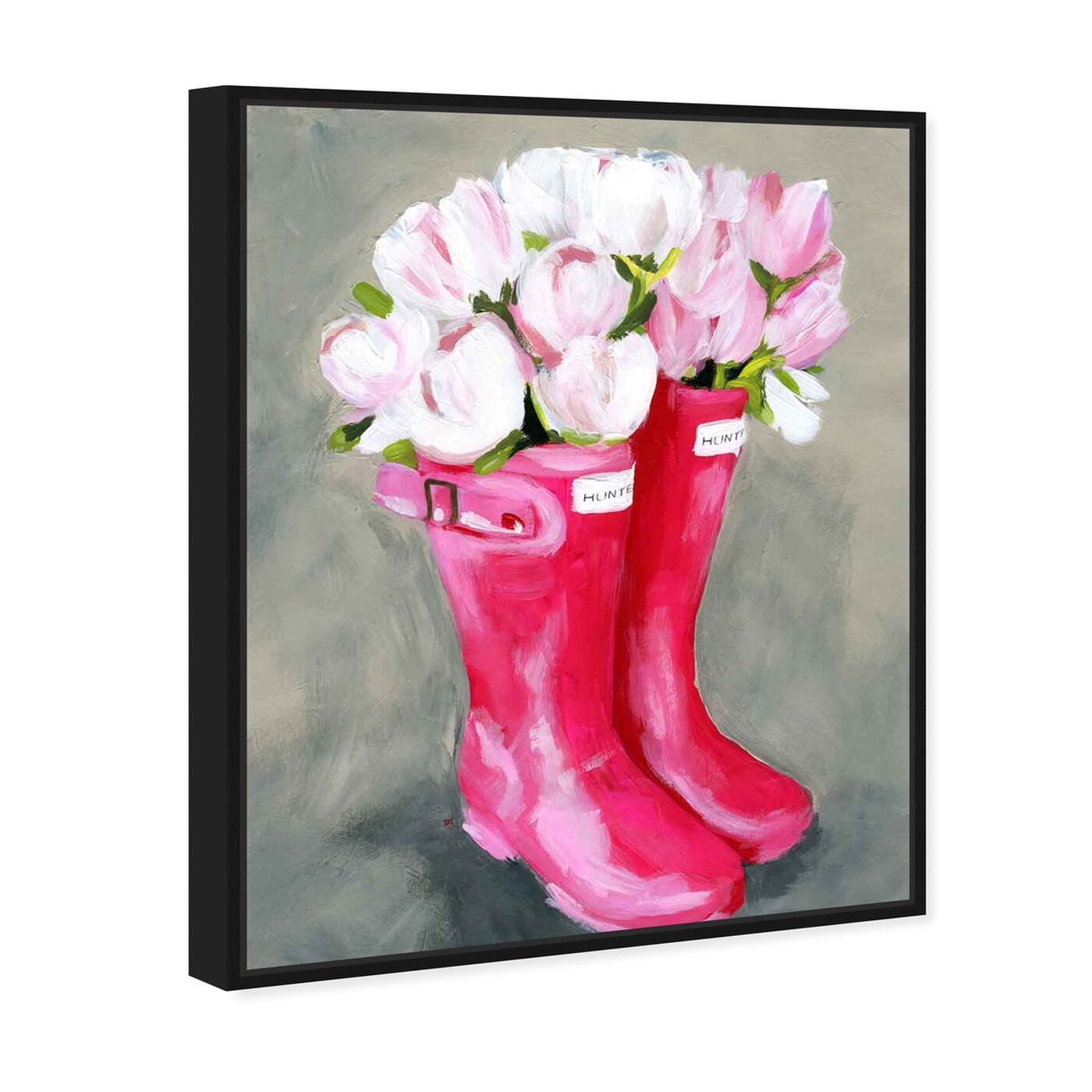 Angled view of Tulips & Rainboots featuring floral and botanical and florals art.