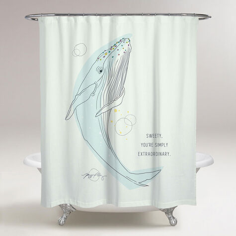 Whale Calling Shower Curtain by Maggie P. Chang