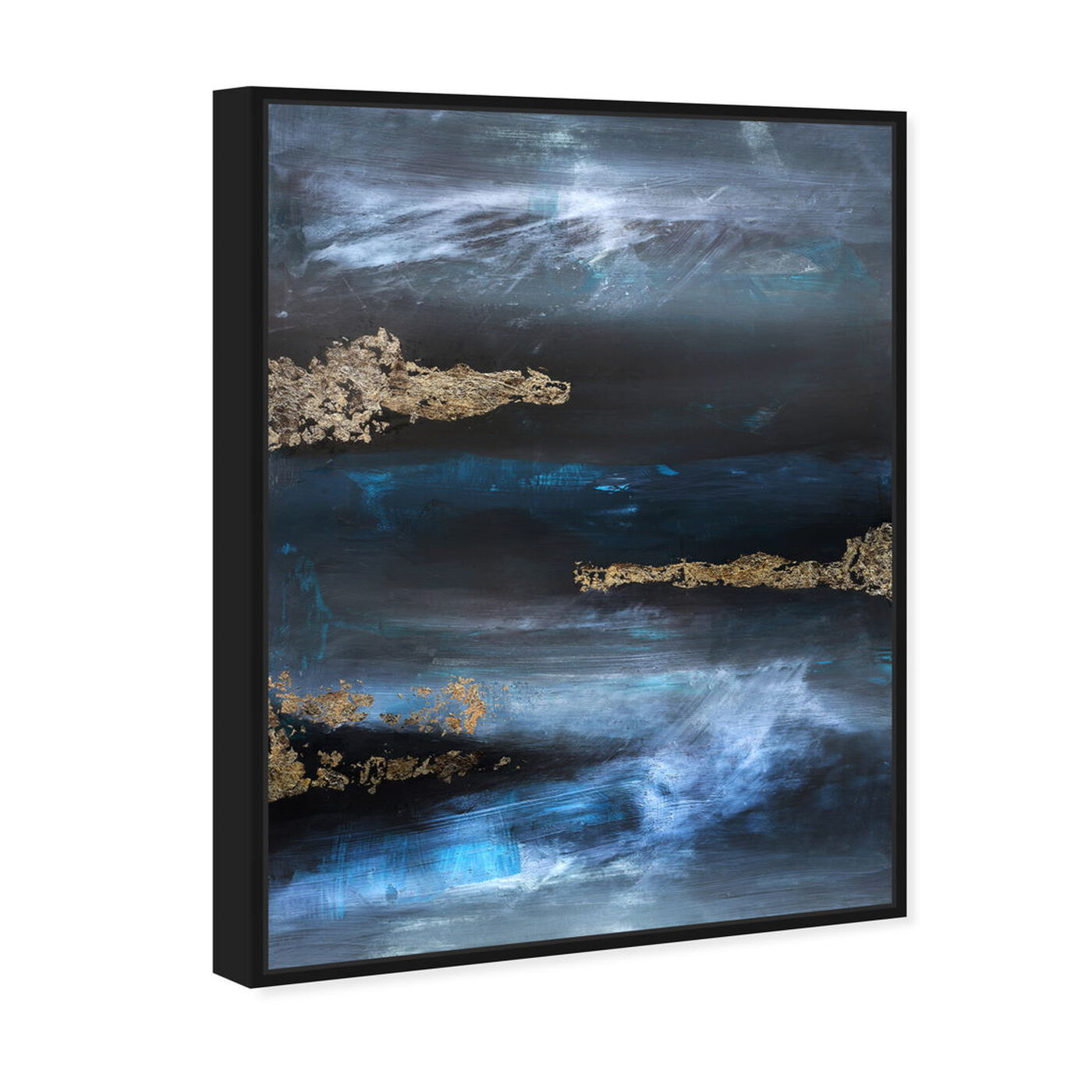 Angled view of Golden blue II featuring abstract and textures art.