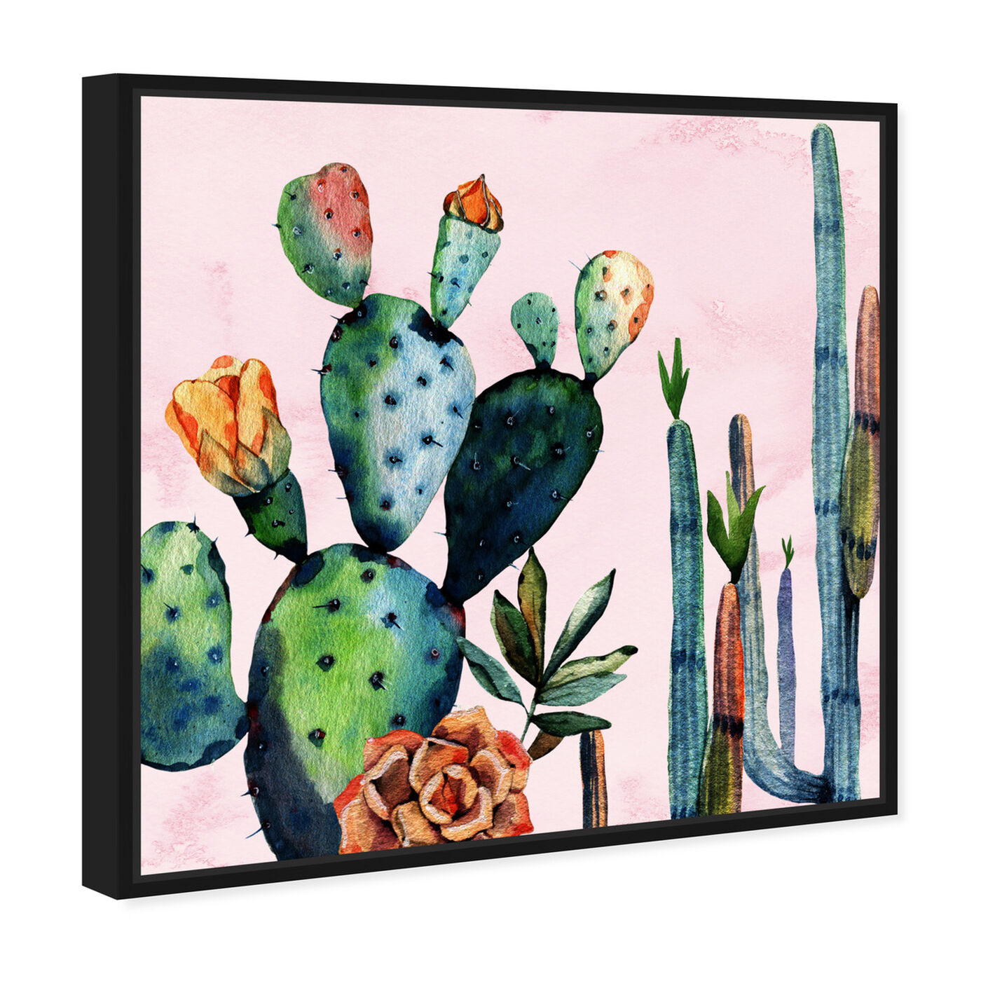 Angled view of Watercolor Succulents featuring floral and botanical and botanicals art.