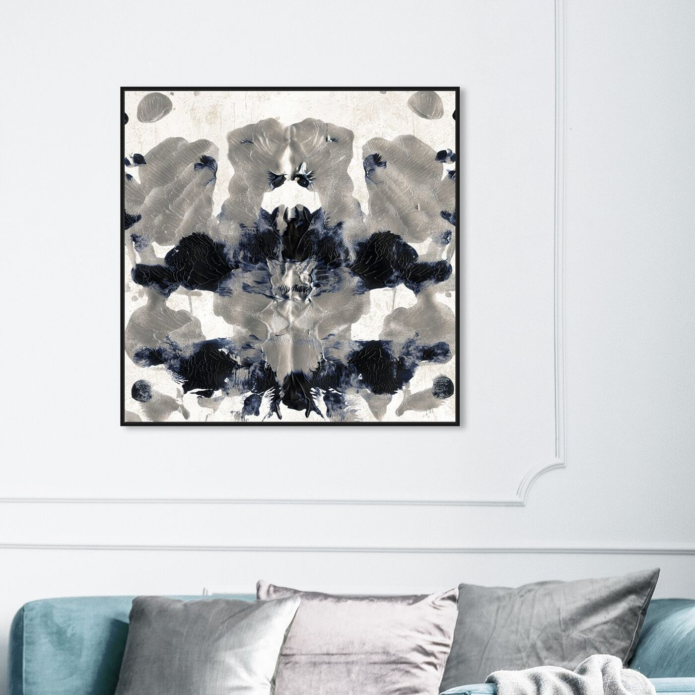 Hanging view of Energy in Silver featuring abstract and paint art.