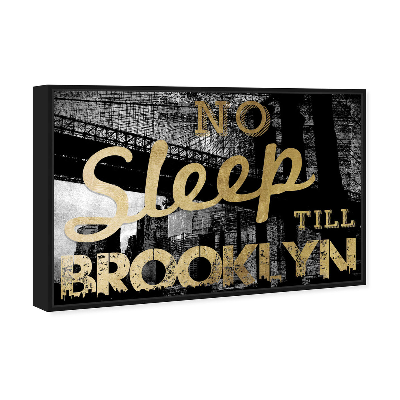 Angled view of No Sleep Brooklyn Gold featuring cities and skylines and united states cities art.