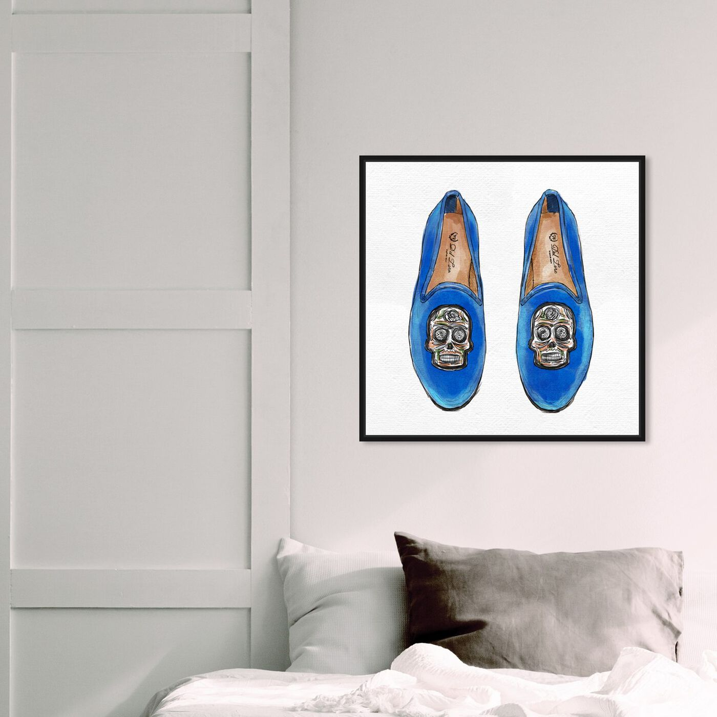 Hanging view of Skull Slippers featuring fashion and glam and shoes art.