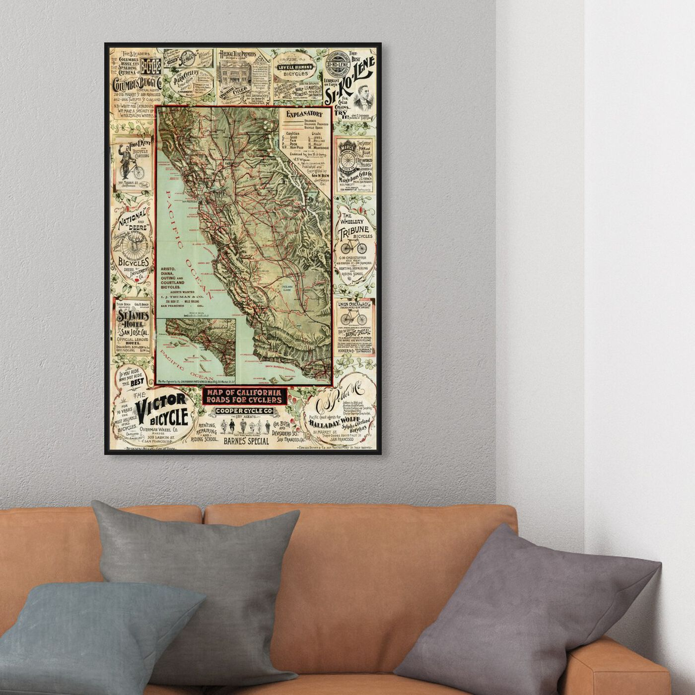 Hanging view of Map of California 1896 for Cyclers featuring maps and flags and us states maps art.