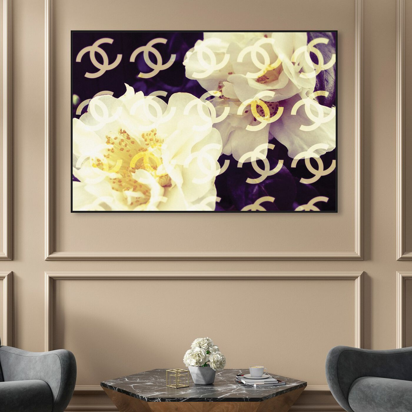 Hanging view of Coco's Camellia Vanilla featuring floral and botanical and florals art.
