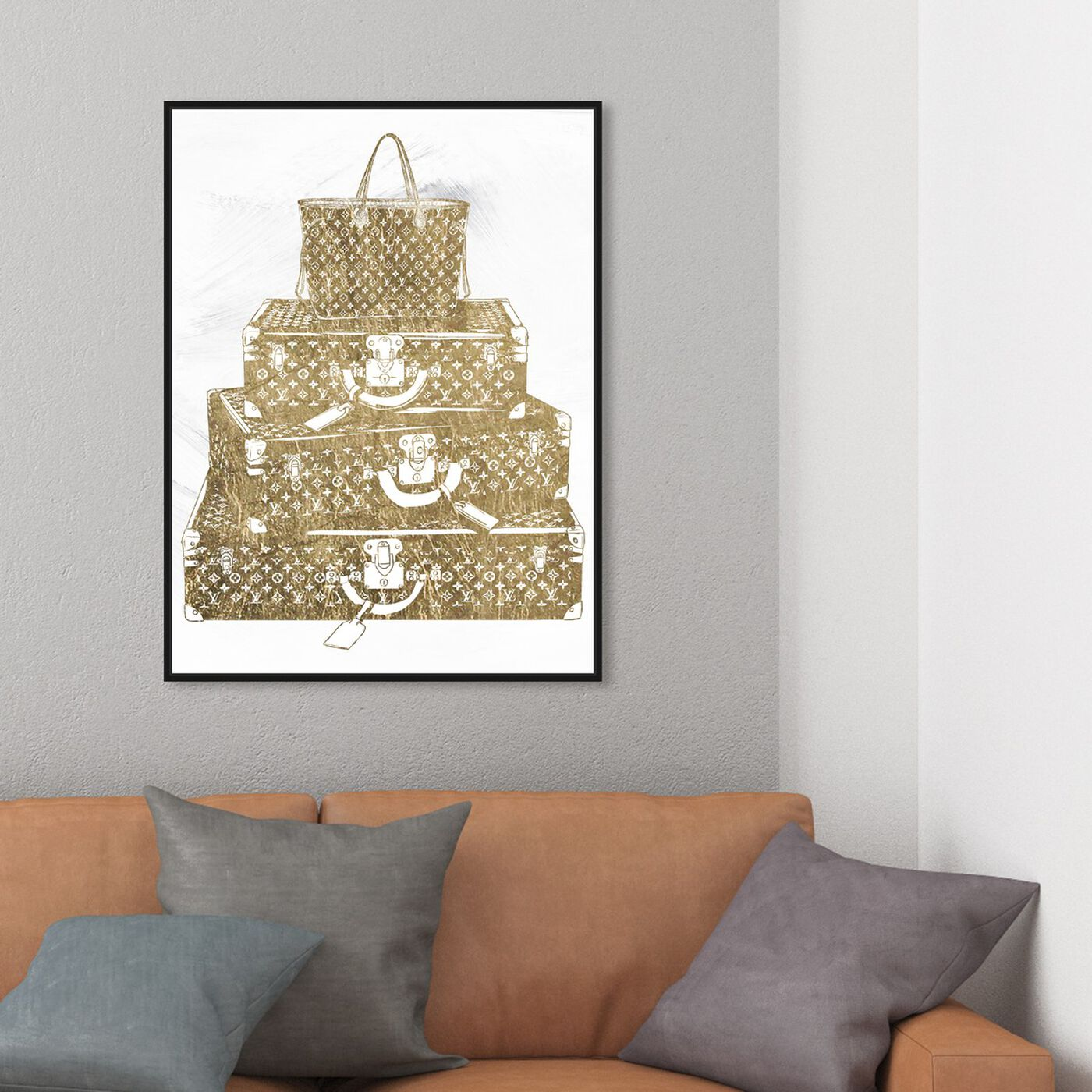 Hanging view of Traveling the Globe featuring fashion and glam and travel essentials art.