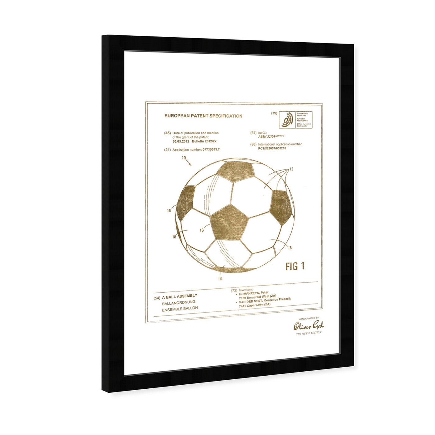 Angled view of soccer ball 2012 Gold featuring sports and teams and soccer art.