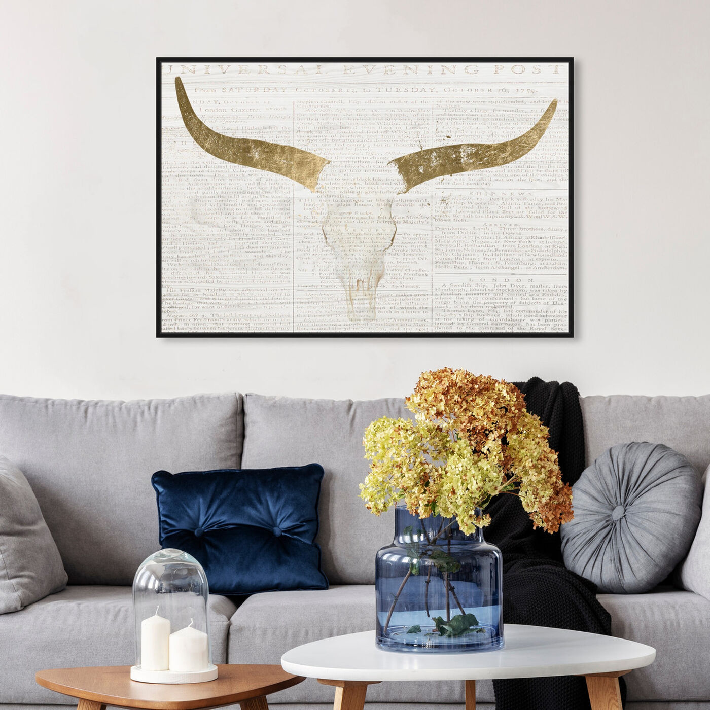 Hanging view of Evening Desert Skull featuring animals and farm animals art.